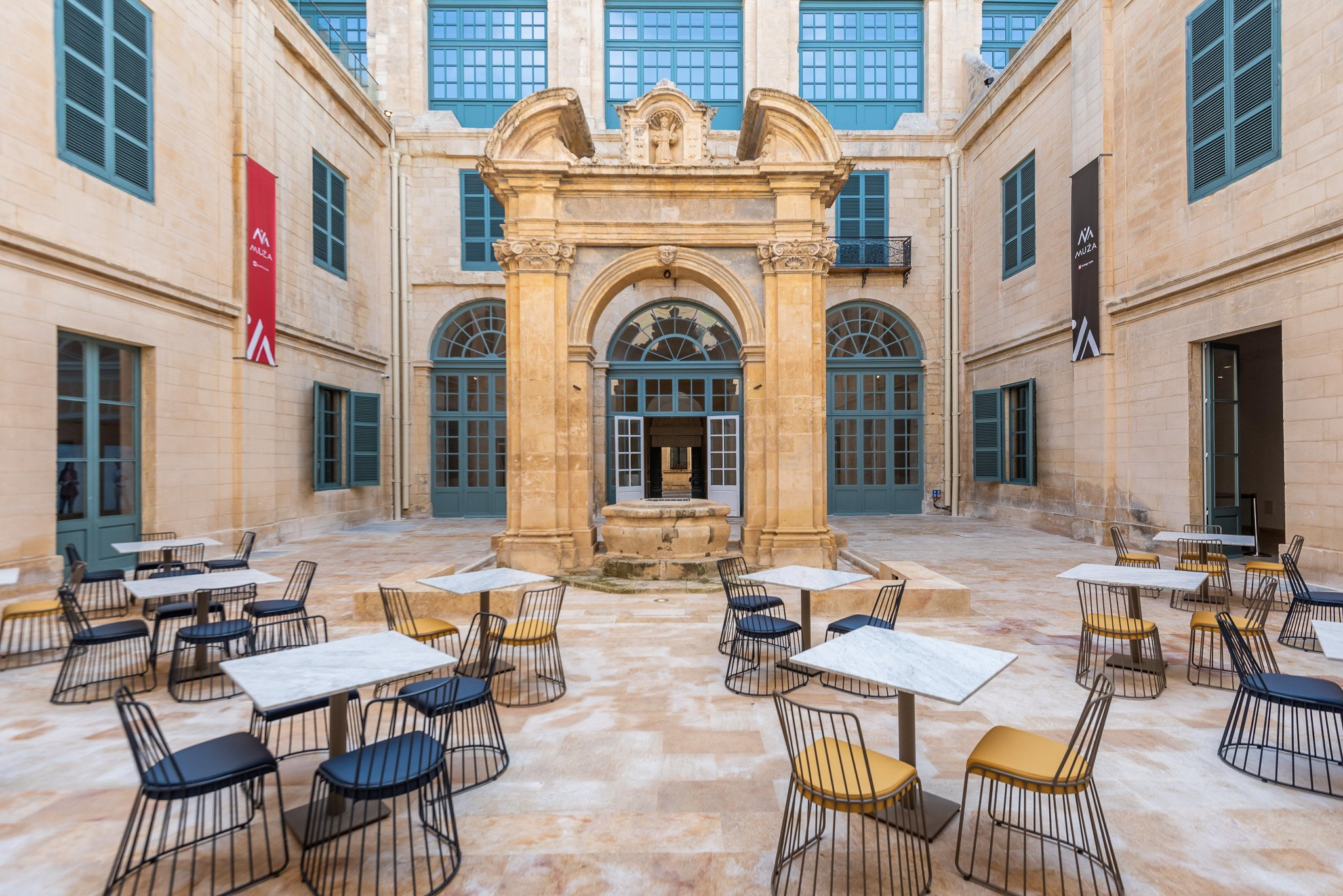 Real Estate and Architecture Photo. Yard at  MUZA in Valletta Malta. Cafe, Restaurant